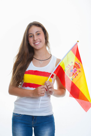 person with Spanish flag from Spain photo