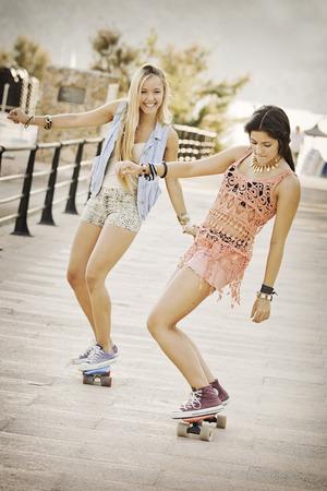 healthy girls: summer fun healthy girls with skateboards.