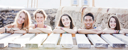 teenagers group: multi racial students on vacation Stock Photo