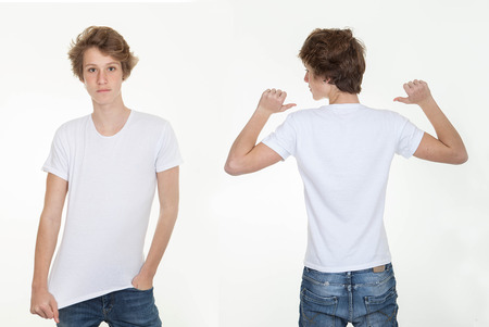 blank white t shirt back and front photo
