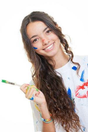messily: teen girl painting messily