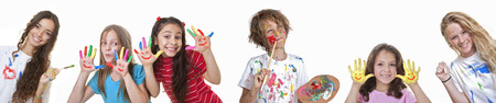 messy kids: kids art and craft classes or summer school Stock Photo