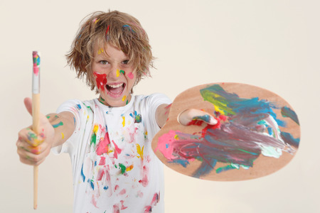 pallete: boy painting with brush and pallete