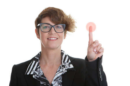 business woman pressing red button photo