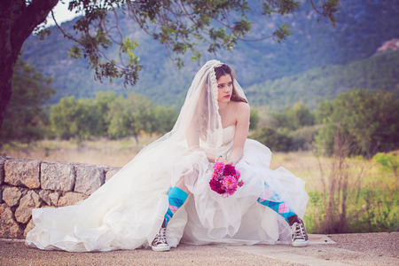 jilted: young fashion jilted runaway bride.