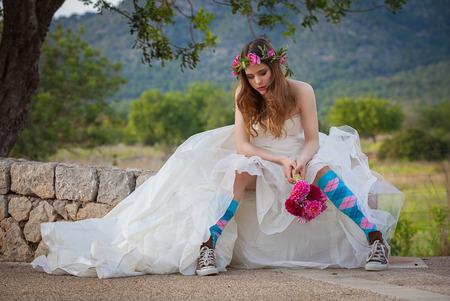 ファッションには、10 代の花嫁が振られます。 写真素材