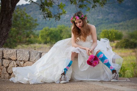 sneakers: fashion jilted teen bride.  Stock Photo