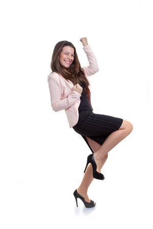 business woman celebrating promotion or pay rise photo