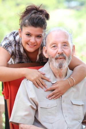 grandad: grandad and granchild, happy family Stock Photo