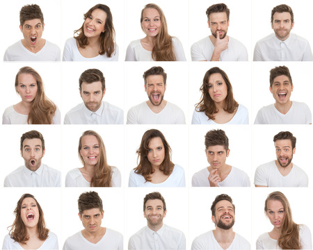 multiple personality: set of different male and female faces, facial expressions