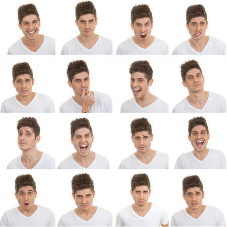 set of different male facial expressions 写真素材