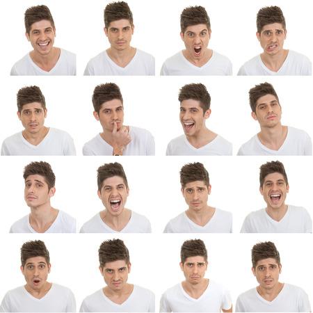 set van verschillende mannelijke gezichtsuitdrukkingen Stockfoto