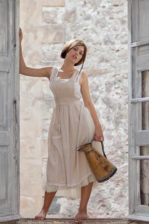innocent girl: fashion girl, innocent milk maid with jug