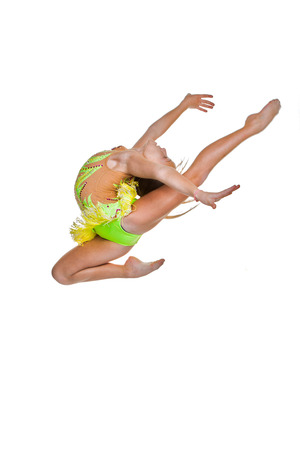 acrobatic: gymnast or ballet dancer leaping or jumping