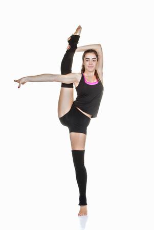 ballet: flexibles bailarina de ballet adolescente ejercicio de estiramiento Foto de archivo
