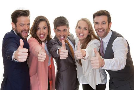 succesvolle business team groep met thumbs up