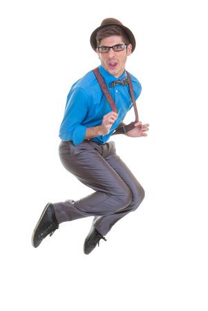 joking: goofy business man jumping.