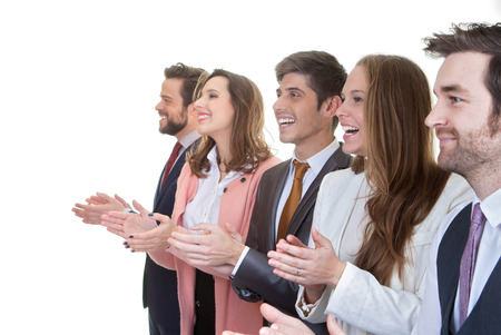business team group applauding in meeting photo