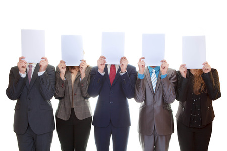 blank papers: business team holding blank papers with copy space.