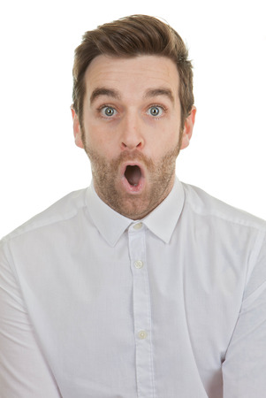astonishment: asombro sorpresa hombre sorprendido con la boca abierta Foto de archivo