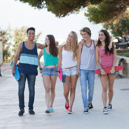 diverse teens: group of diverse teens on holiday or vacation