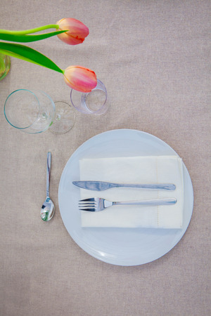 simple meal: simple meal table lunch setting, Stock Photo