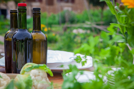 fruit and veg: garden party meal with wine and healthy food Stock Photo