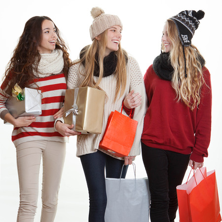 shoppingbag: teens with party gifts or presents,