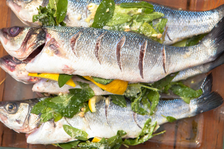 broiling: prepared sea bass fish for cooking