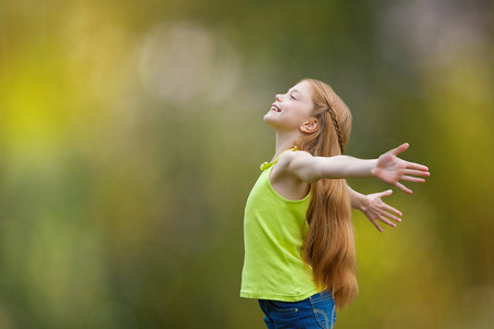 child, kid, joy, faith, praise and happiness and freedom Stock Photo