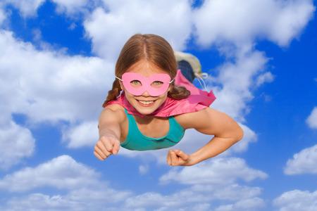 superhero travel flying concept or girl power