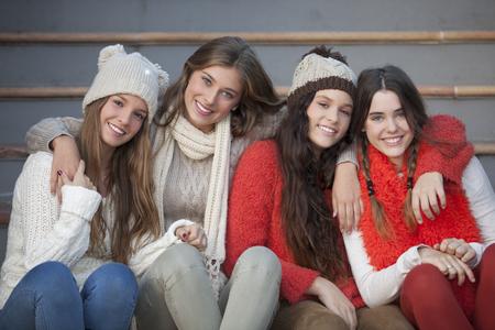 winter fashion: fashion winter teens with beautiful smiles and teeth