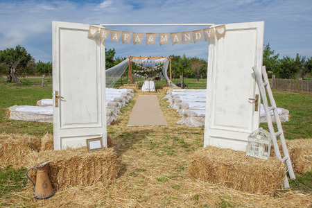 outdoor rural country wedding venue setting Stock Photo - 53040401