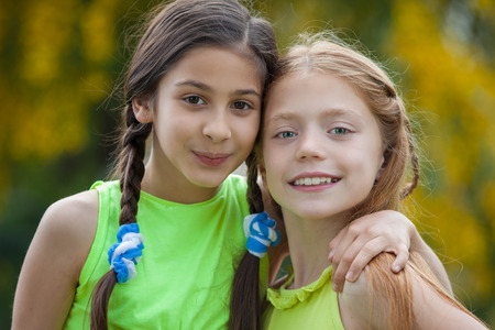 friendship happy healthy diverse  young girls