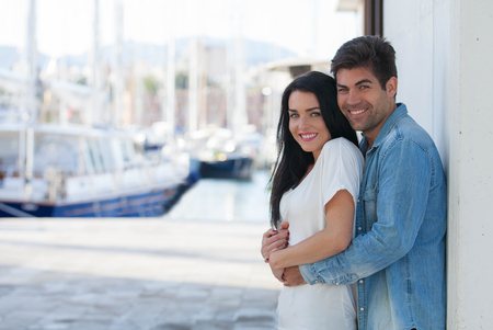 happy couple on vacation or summer holiday Stockfoto