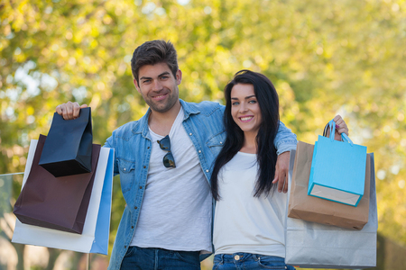 shopping trip: Hispanic couple on shopping trip for gifts