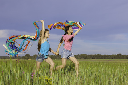 healthy happy kids fun  playing outdoors Stock fotó