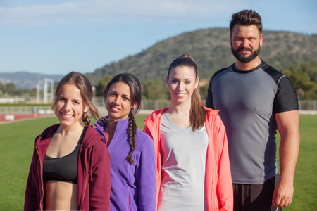 sports team of fit healthy people