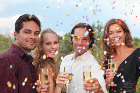 group champagne toast at party  celebration or wedding Stockfoto