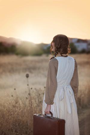 nostalgia, woman leaving home