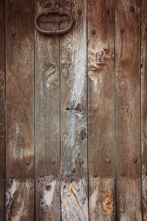 old wooden rustic door with knocker