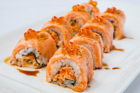 Japanese cuisine salmon nigiri Stock Photo
