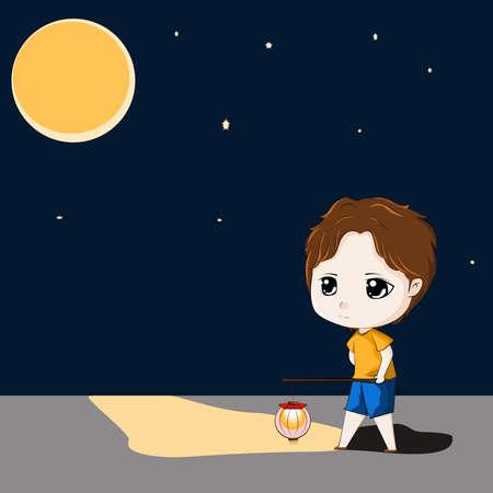 boy holding lantern walking on the road under the moon light, vector illustration
