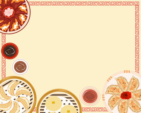 set of chinese food, crispy duck skin, dim sum and dumplings vector illustration