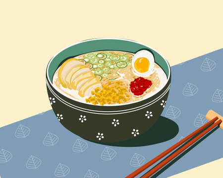 chicken noodles and eggs with spicy chilly and onion soup, food vector illustration