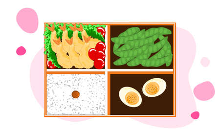 set of lunch box, tempura or shrim fried, boiled egg, bean and rice. bento vector illustration