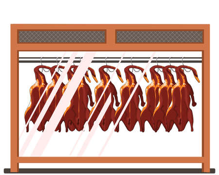 crispy duck hanging in showcase, Chinese food vector illustration