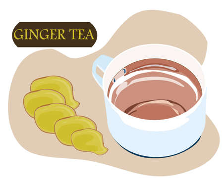 ginger sliced and a white cup of ginger tea with white background, vector illustration  イラスト・ベクター素材