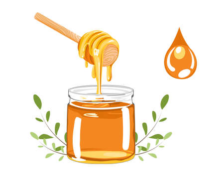 honey in a clear jar and dipper on white back ground vector illustration Stock Illustratie