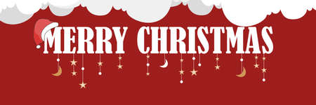 Christmas banner, MERRY CHRISTMAS text and santa claus hat with star and moon decaration on red background. Vector illustration. 向量圖像